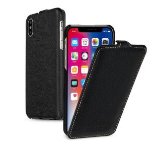 Кожаный чехол вертикальная книжка (премиум нат. кожа) для Iphone X 10/XS Черный