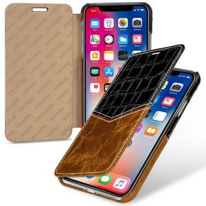 Кожаный чехол горизонтальная книжка (2 вида премиум нат. кожи) для Iphone X 10/XS Черный