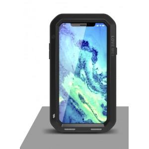 Цельнометаллический противоударный чехол из авиационного алюминия на винтах с мягкой внутренней защитной прослойкой для гаджета с прямым доступом к разъемам для Iphone X 10 Черный