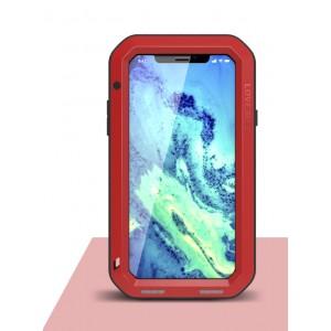 Цельнометаллический противоударный чехол из авиационного алюминия на винтах с мягкой внутренней защитной прослойкой для гаджета с прямым доступом к разъемам для Iphone X 10