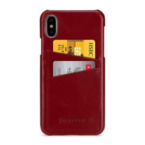 Кожаный чехол накладка (премиум нат. кожа) с отсеком для карт для Iphone X 10/XS Красный