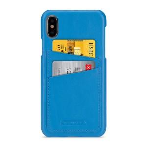Кожаный чехол накладка (премиум нат. кожа) с отсеком для карт для Iphone X 10/XS