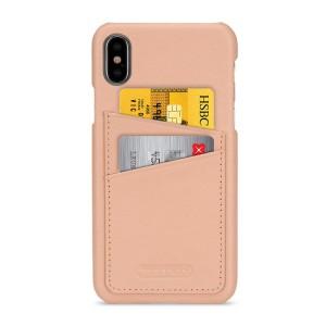 Кожаный чехол накладка (премиум нат. кожа) с отсеком для карт для Iphone X 10/XS Розовый