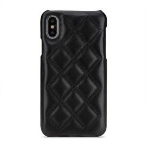 Кожаный чехол накладка (премиум нат. кожа) текстура Клетка для Iphone X 10