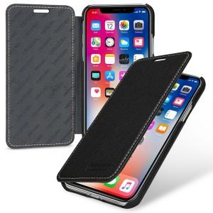 Кожаный чехол горизонтальная книжка (премиум нат. кожа) для Iphone X 10/XS
