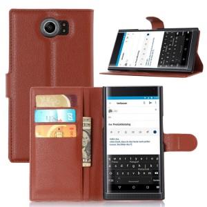 Чехол портмоне подставка на пластиковой основе на магнитной защелке для Blackberry Priv  Коричневый
