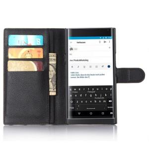 Чехол портмоне подставка на пластиковой основе на магнитной защелке для Blackberry Priv  Черный