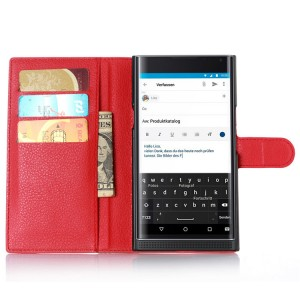 Чехол портмоне подставка на пластиковой основе на магнитной защелке для Blackberry Priv  Красный