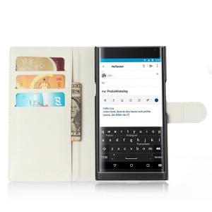 Чехол портмоне подставка на пластиковой основе на магнитной защелке для Blackberry Priv  Белый