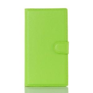 Чехол портмоне подставка на пластиковой основе на магнитной защелке для Blackberry Priv  Зеленый