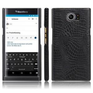 Чехол накладка текстурная отделка текстура Крокодил для Blackberry Priv  Черный