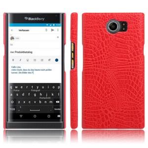 Чехол накладка текстурная отделка текстура Крокодил для Blackberry Priv  Красный