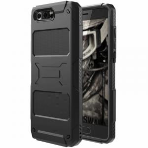 Противоударный силиконовый матовый непрозрачный чехол для Huawei Honor 9 Черный