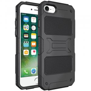 Противоударный двухкомпонентный силиконовый матовый непрозрачный чехол с поликарбонатными вставками экстрим защиты для Iphone 7 Plus/8 Plus  Черный