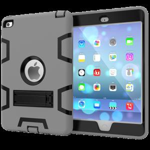 Противоударный двухкомпонентный силиконовый матовый непрозрачный чехол с поликарбонатными вставками для экстрим защиты с встроенной ножкой-подставкой для Ipad Pro 10.5