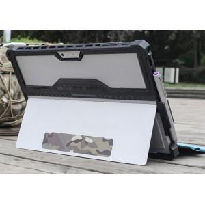 Противоударный двухкомпонентный силиконовый матовый непрозрачный чехол с поликарбонатными вставками для экстрим защиты, встроенной ножкой-подставкой и держателем стилуса для Microsoft Surface Pro 4