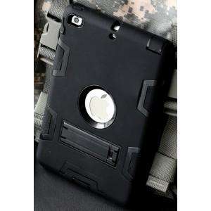 Противоударный двухкомпонентный силиконовый матовый непрозрачный чехол с нескользящими гранями и поликарбонатными вставками для экстрим защиты с встроенной ножкой-подставкой для Ipad (2017)/Ipad (2018)