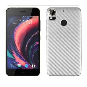Силиконовый матовый непрозрачный чехол с текстурным покрытием Карбон для HTC Desire 10 Pro