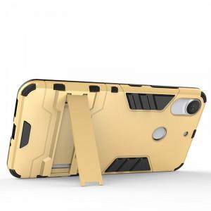 Противоударный двухкомпонентный силиконовый матовый непрозрачный чехол с поликарбонатными вставками экстрим защиты с встроенной ножкой-подставкой для HTC Desire 10 Pro