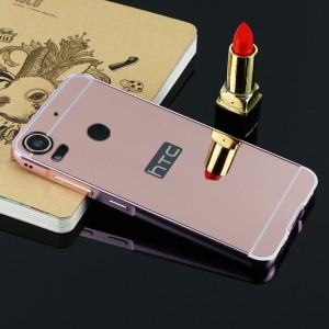 Двухкомпонентный чехол c металлическим бампером с поликарбонатной накладкой и зеркальным покрытием для HTC Desire 10 Pro