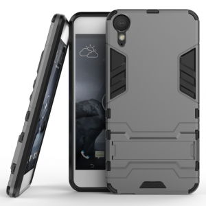 Противоударный двухкомпонентный силиконовый матовый непрозрачный чехол с поликарбонатными вставками экстрим защиты с встроенной ножкой-подставкой для HTC Desire 10 Lifestyle