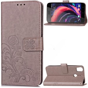 Чехол портмоне подставка текстура Цветы на силиконовой основе с отсеком для карт на дизайнерской магнитной защелке для HTC Desire 10 Pro