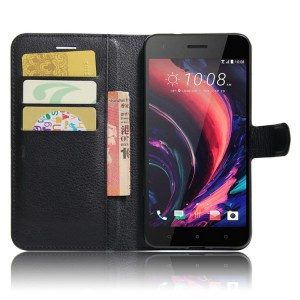 Чехол портмоне подставка на силиконовой основе с отсеком для карт на магнитной защелке для HTC Desire 10 Pro