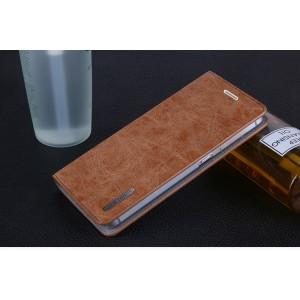 Винтажный чехол горизонтальная книжка подставка на пластиковой основе с отсеком для карт на присосках для ZTE Blade A610