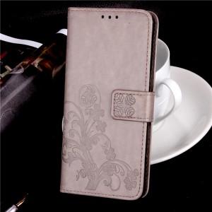 Чехол портмоне подставка текстура Цветы на силиконовой основе с отсеком для карт на магнитной защелке для ZTE Blade A610  Серый