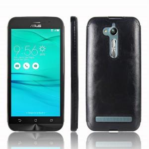Силиконовый матовый непрозрачный чехол с текстурным покрытием Кожа для ASUS ZenFone Go ZB500KL/ZB500KG Черный