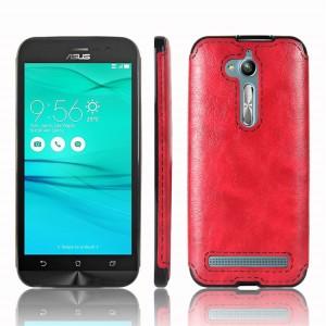 Силиконовый матовый непрозрачный чехол с текстурным покрытием Кожа для ASUS ZenFone Go ZB500KL/ZB500KG Красный