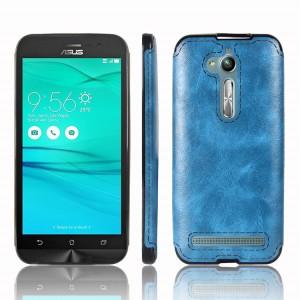 Силиконовый матовый непрозрачный чехол с текстурным покрытием Кожа для ASUS ZenFone Go ZB500KL/ZB500KG Синий