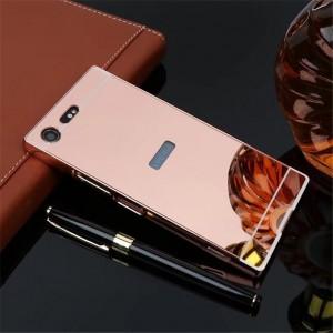 Двухкомпонентный чехол c металлическим бампером с поликарбонатной накладкой и зеркальным покрытием для Sony Xperia XZ Premium