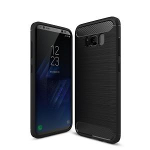 Силиконовый матовый непрозрачный чехол с текстурным покрытием Металлик для Samsung Galaxy S8 Черный