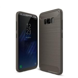 Силиконовый матовый непрозрачный чехол с текстурным покрытием Металлик для Samsung Galaxy S8 Серый