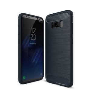 Силиконовый матовый непрозрачный чехол с текстурным покрытием Металлик для Samsung Galaxy S8 Синий