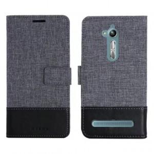 Чехол портмоне подставка на силиконовой основе с отсеком для карт и тканевым покрытием на магнитной защелке для ASUS ZenFone Go ZB500KL/ZB500KG
