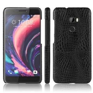 Чехол накладка текстурная отделка Крокодил для HTC One X10  Черный