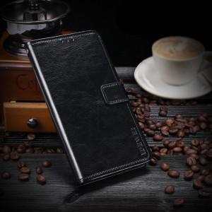 Глянцевый чехол портмоне подставка на силиконовой основе с отсеком для карт на магнитной защелке для HTC One X10 Черный