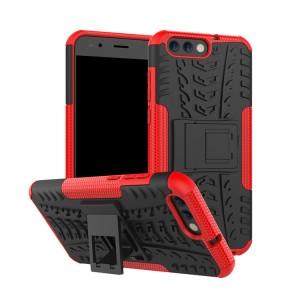 Противоударный двухкомпонентный силиконовый матовый непрозрачный чехол с нескользящими гранями и поликарбонатными вставками экстрим защиты с встроенной ножкой-подставкой для ASUS ZenFone 4 ZE554KL Красный