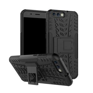 Противоударный двухкомпонентный силиконовый матовый непрозрачный чехол с нескользящими гранями и поликарбонатными вставками экстрим защиты с встроенной ножкой-подставкой для ASUS ZenFone 4 ZE554KL Черный