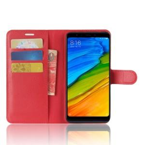 Чехол портмоне подставка на силиконовой основе с отсеком для карт на магнитной защелке для Xiaomi RedMi 5 Plus
