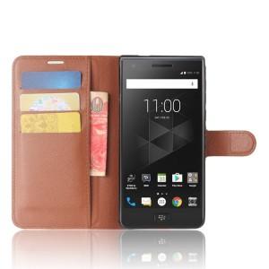 Чехол портмоне подставка на силиконовой основе с отсеком для карт на магнитной защелке для BlackBerry Motion  Коричневый