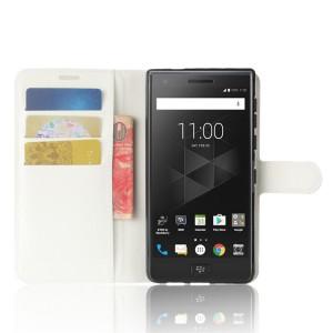 Чехол портмоне подставка на силиконовой основе с отсеком для карт на магнитной защелке для BlackBerry Motion  Белый