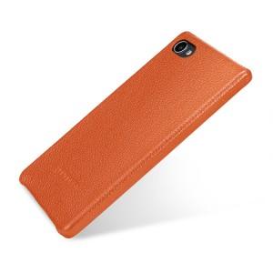 Кожаный чехол накладка ручной работы (премиум нат. кожа) для BlackBerry Motion  Оранжевый
