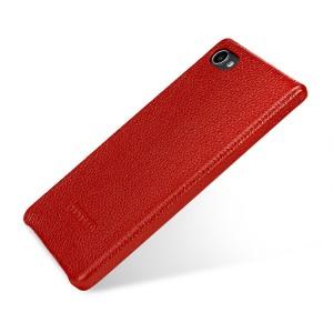 Кожаный чехол накладка ручной работы (премиум нат. кожа) для BlackBerry Motion  Красный