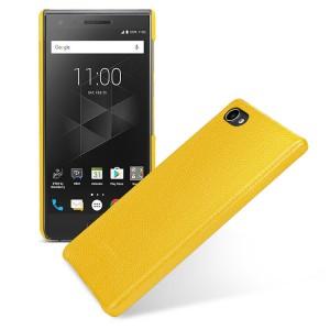 Кожаный чехол накладка ручной работы (премиум нат. кожа) для BlackBerry Motion  Желтый