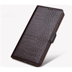 Кожаный чехол горизонтальная книжка подставка (премиум нат. кожа крокодила) с магнитной застежкой (с отсеком для карт) для Philips X586