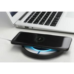 Экстратонкое 16 мм круглое беспроводное qi зарядное устройство 110*110мм с поддержкой быстрой зарядки (5В 2А, 9В 1.7А) и динамической LED-подсветкой