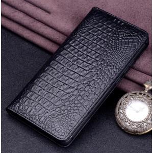 Кожаный чехол горизонтальная книжка (премиум нат. кожа крокодила) для Huawei Honor View 10